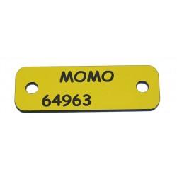 Placa para coser al collar amarillo y negro