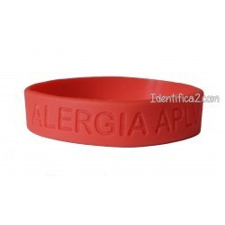 Pulsera silicona rojo tamaño L - 20 cm.