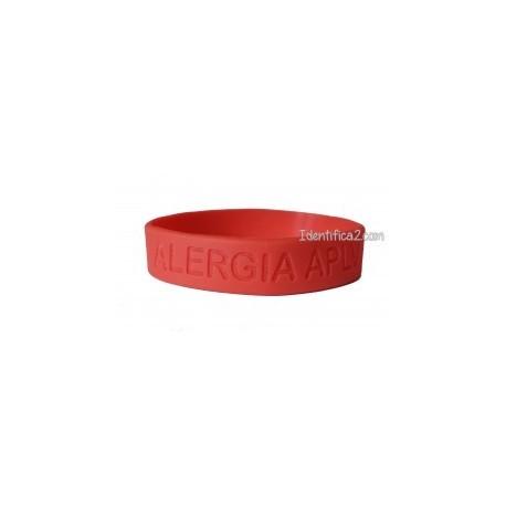 Pulsera silicona roja tamaño L - 20 cm.
