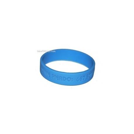 Pulsera silicona azul tamaño L - 20 cm.