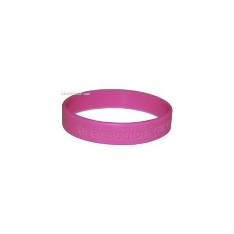 Pulsera silicona rosa tamaño L - 20 cm.